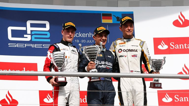 Stoffel Vandoorne, Mitch Evans and Jolyon Palmer on the podium (GP2 Series Media)