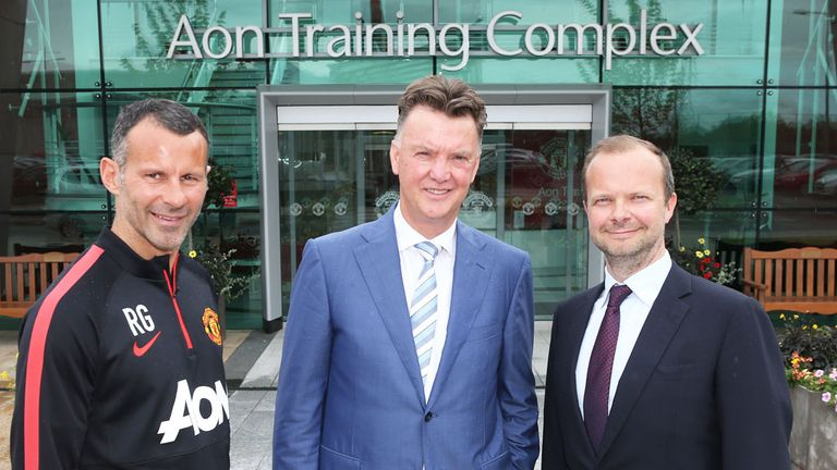 Ed Woodward (right): With manager Louis Van Gaal and assistant Ryan Giggs