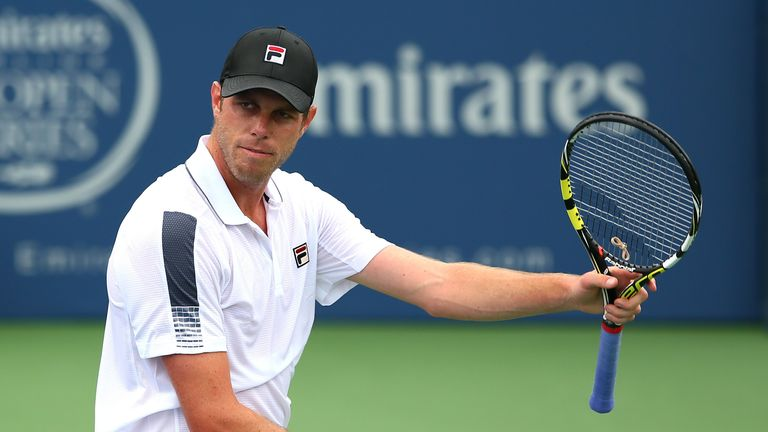 Sam Querrey reacts after a shot against Steve Johnson at the BB&T Atlanta Open