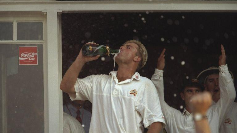 Shane Warne celebrating Australia's 1997 Ashes series victory