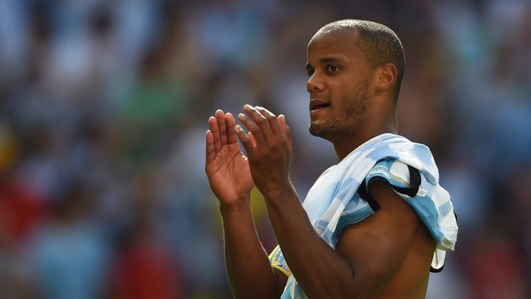 Vincent Kompany applauds the Belgium fans after their loss to Argentina