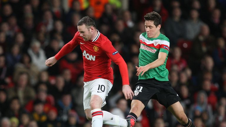 In action against Wayne Rooney