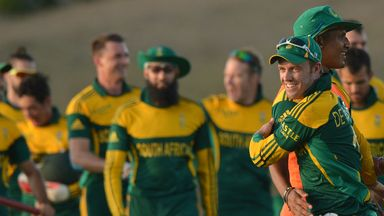 Captain AB de Villiers and his team-mates celebrate victory