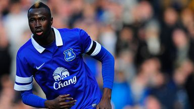 Striker Lacina Traore during a rare Everton appearance last season