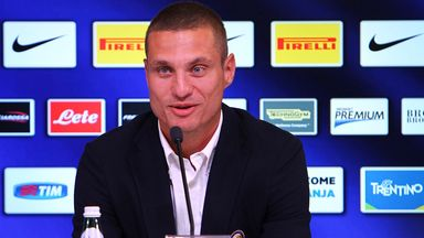 Nemanja Vidic speaking to the press in Milan on Friday