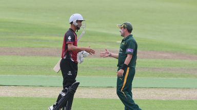 Somerset and Nottinghamshire shake hands after their clash finished all square at Trent Bridge