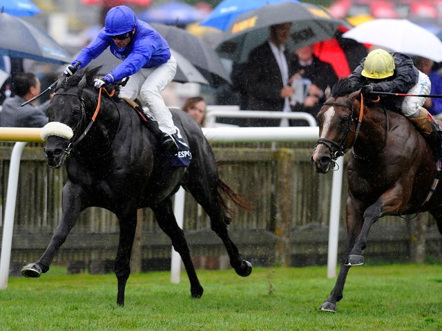 Silvestre De Sousa (left) riding Cavalryman to victory at Newmarket