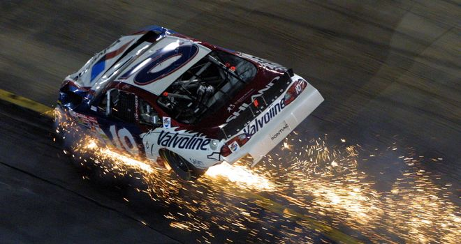 Sparks flew for Johnny Benson and his Valvoline Pontiac at the 2001 Sharpie 500