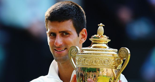 Novak Djokovic: Poses with the Wimbledon men's title