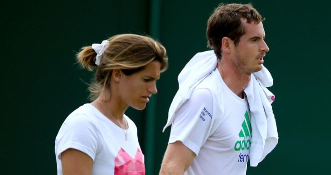 Andy Murray and Amelie Mauresmo during a coaching session at Wimbledon last month