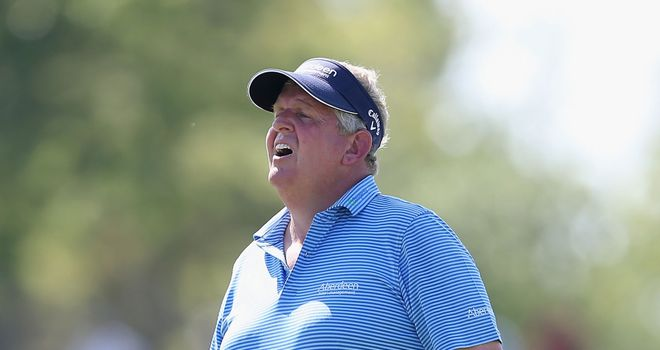 Colin Montgomerie: Recovered from a slow start to keep his lead at the US Senior Open