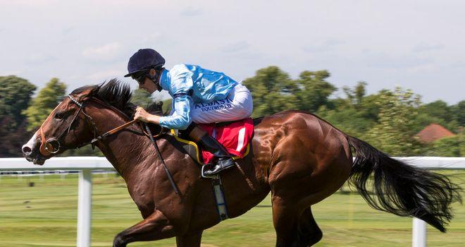 Beacon in winning action at Sandown.