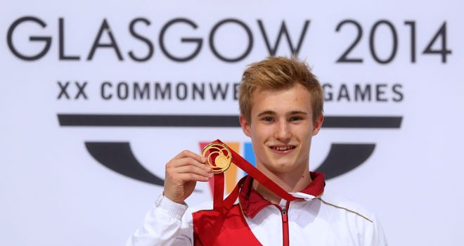 Jack Laugher: Poses with the gold medal after winning the men's 1m springboard title