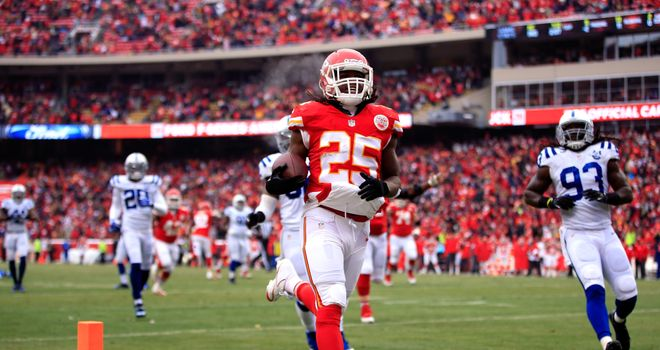 Running back Jamaal Charles of the Kansas City Chiefs scores against Indianapolis Colts