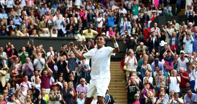 Nick Kyrgios: celebrates winning his men's singles fourth round match at Wimbledon
