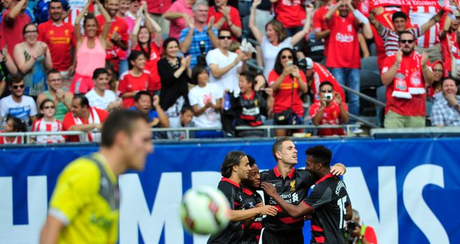 Raheem Sterling: Liverpool celebrate his goal