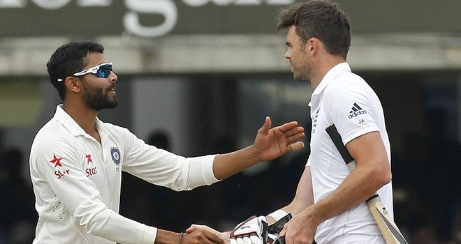 Ravindra Jadeja (l) and James Anderson in happier times at Lord's