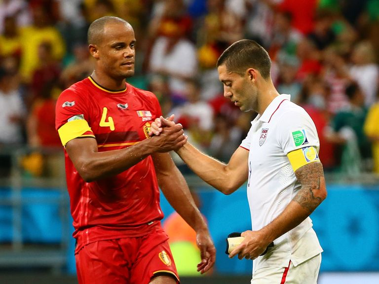 Vincent Kompany (left): Belgium defender in confident mood