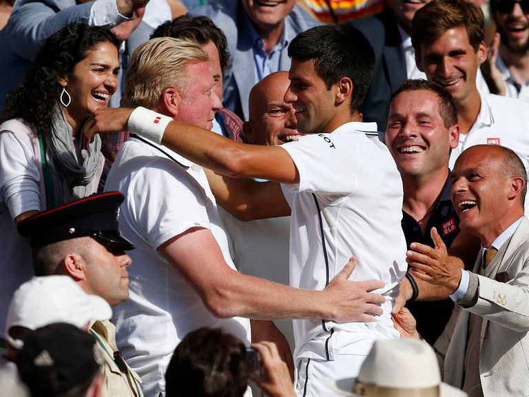 Becker and Djokovic celebrate