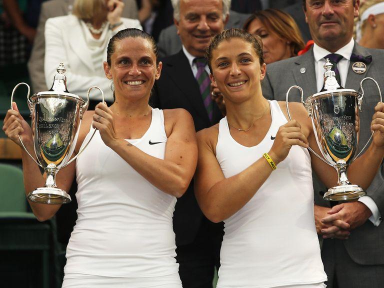 Sara Errani and Roberta Vinci celebrate their success