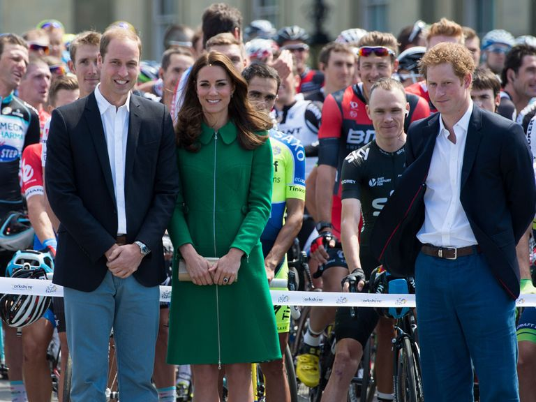 Duke and Duchess of Cambridge along with Prince Harry pose for a picture