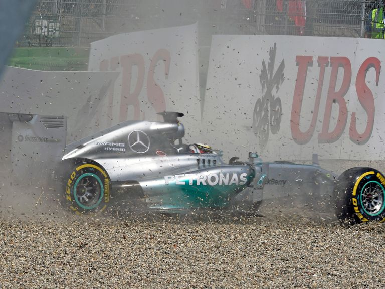 Lewis Hamilton crashed out of qualifying