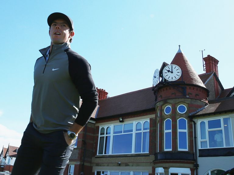 Rory McIlroy outside the clubhouse on Tuesday at Hoylake