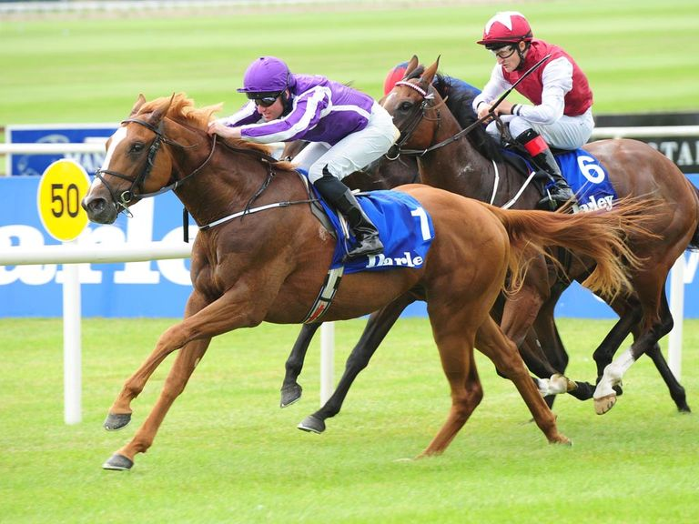 East India, ridden by Seamus Heffernan, wins the opener on Irish Oaks day at the Curragh