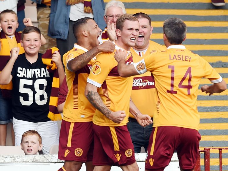 .Motherwell's Josh Law celebrates against Stjarnan