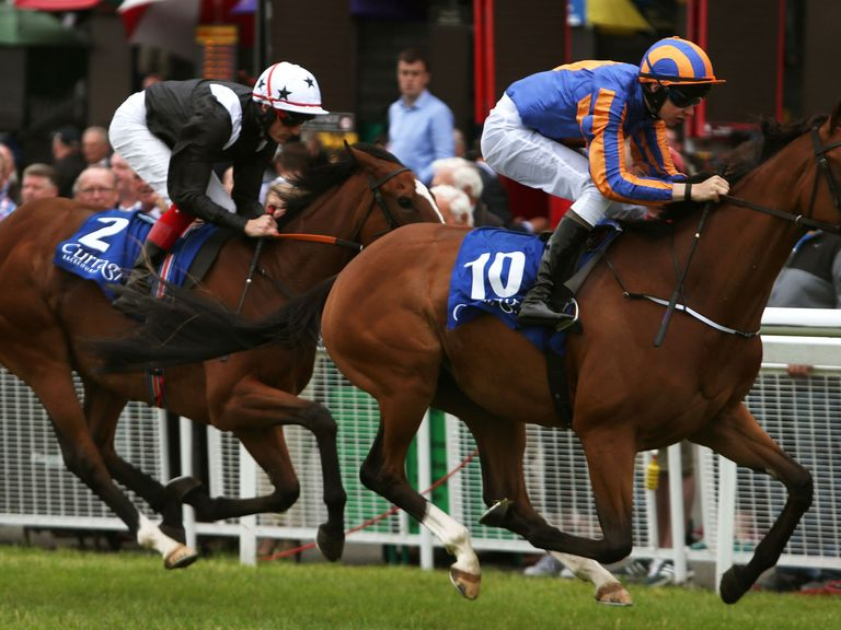 Toogoodtobetrue ridden by Joseph O'Brien (right) wins the Sycamore Lodge Equine Hospital European Breeders Fund Fillies Maiden.