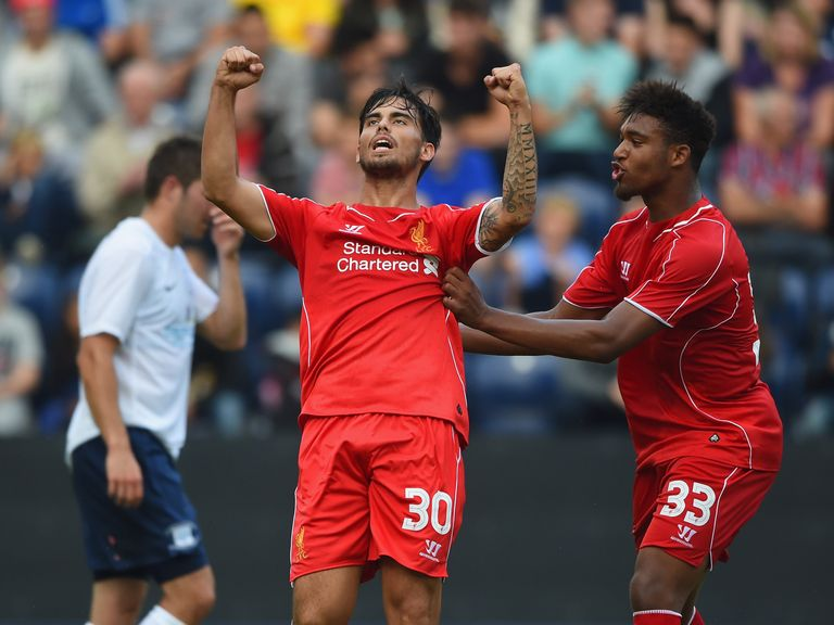 Suso celebrates his goal with Ibe