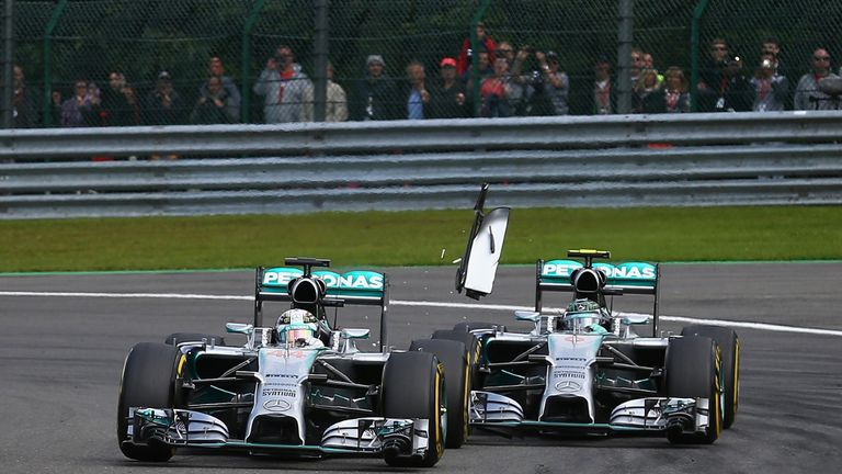 Controversial: Lewis Hamilton and Nico Rosberg collide at Spa