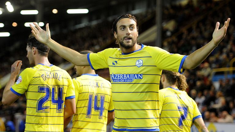 Atdhe Nuhiu: Celebrates goal at Turf Moor