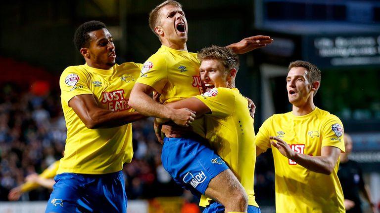 Jamie Ward: Celebrates goal for Derby