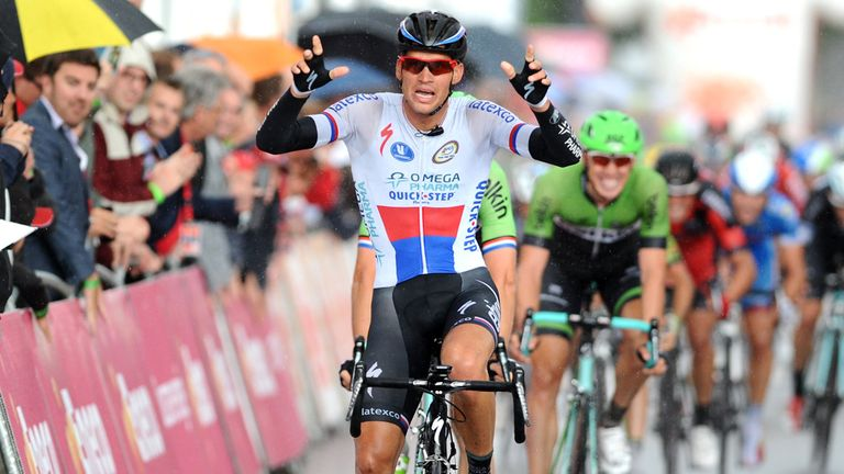 Stybar celebrates his hard-fought victory