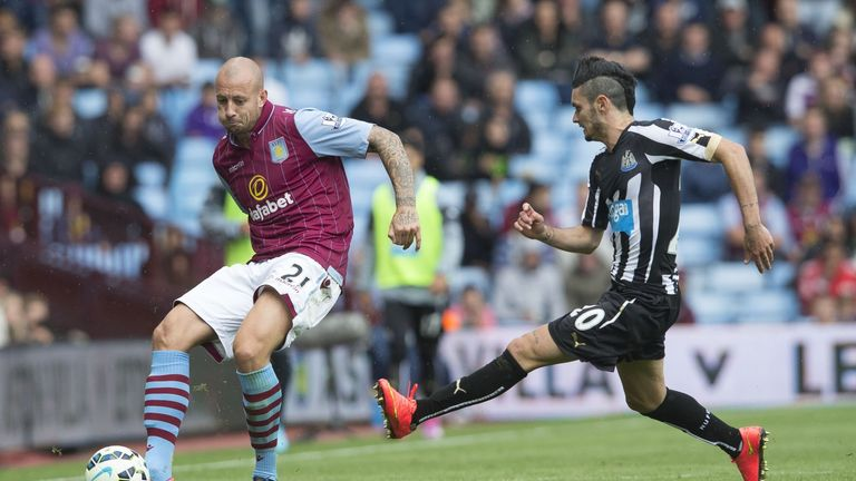 Alan Hutton's battle with Remy Cabella was a feature of the game at Villa Park