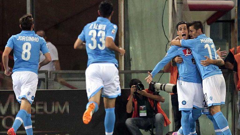 Jose Callejon celebrates the opener for Napoli