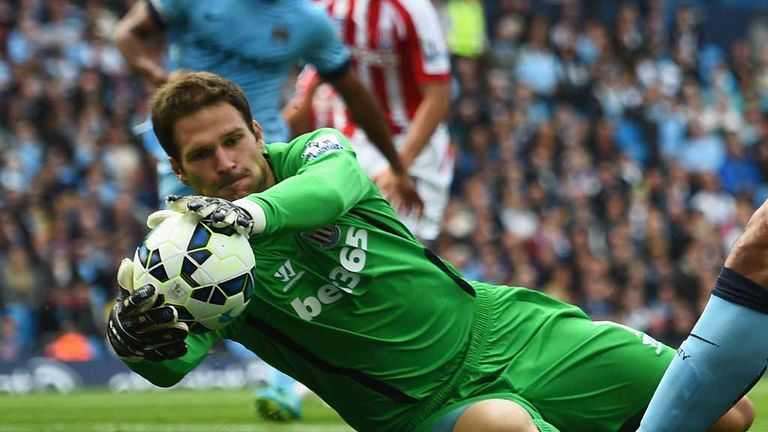Asmir Begovic: Stoke goalkeeper in action at Manchester City