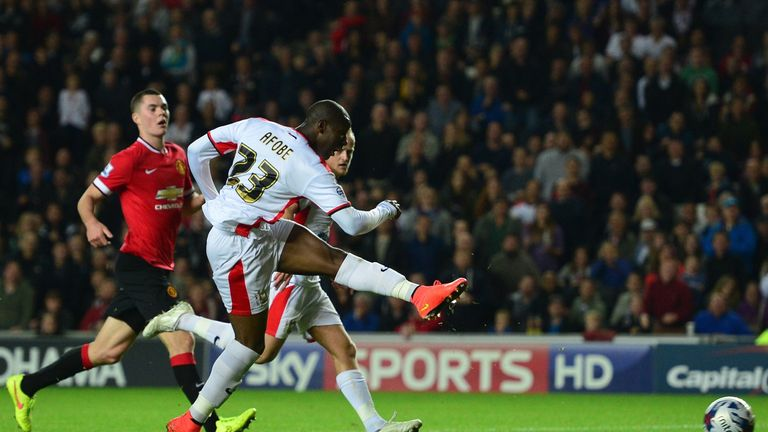 Afobe scored twice in a 4-0 win over Manchester United with MK Dons
