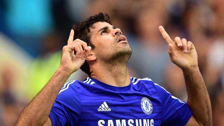 Diego Costa celebrates his goal against Leicester