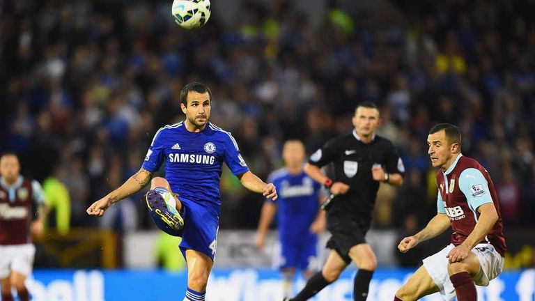 Cesc Fabregas controls the ball at Turf Moor as he delivers a midfield masterclass