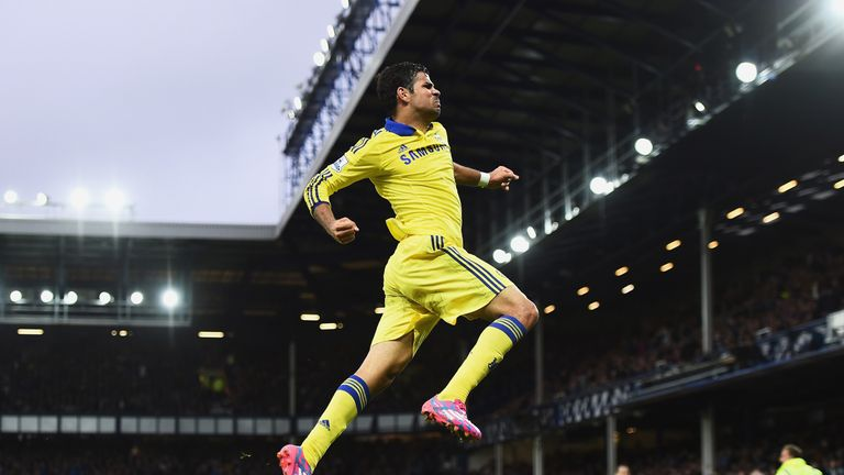 Diego Costa celebrates scoring Chelsea's sixth goal against Everton