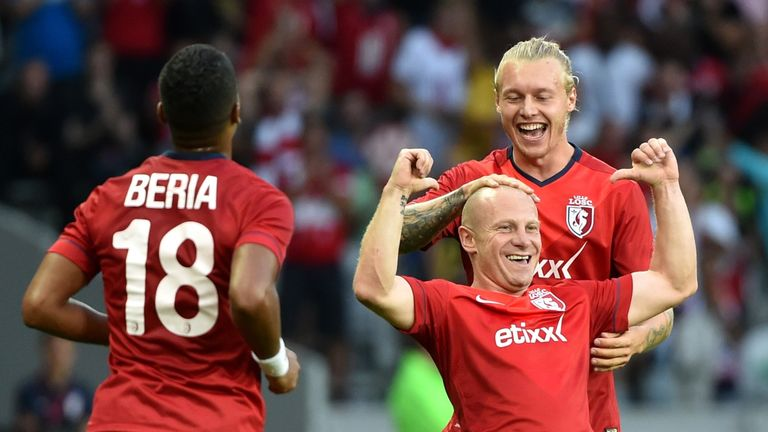 Florent Balmont: Celebrates goal for Lille