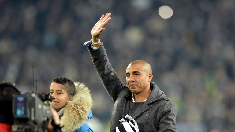 Former Juventus player David Trezeguet greets fans prior to the Serie A match between Juventus and AS Roma