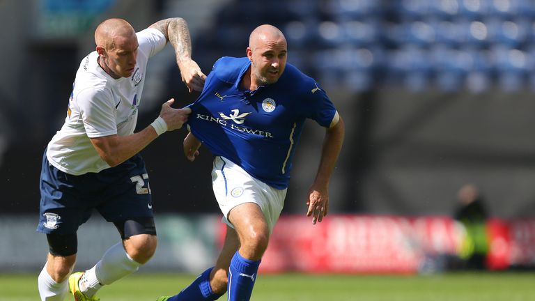 Preston North End's Jack King (left) challenges Leicester City's Gary Taylor-Fletcher during a pre-season friendly at Deepdale,.