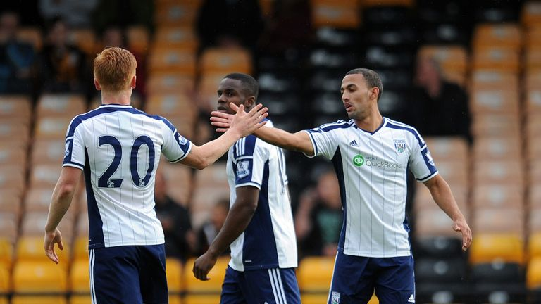 Kemar Roofe: Celebrates goal for West Brom