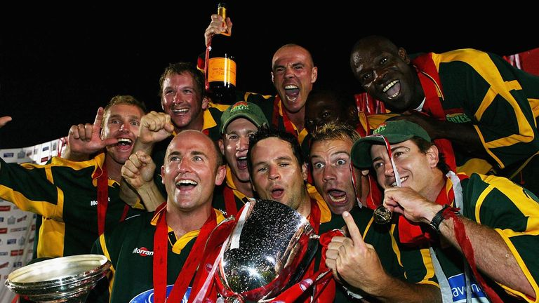 Leicestershire celebrate the first of their three successes at Finals Day, back in 2004