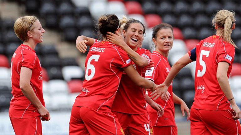 Liverpool celebrate after Lucy Bronze scored their second goal
