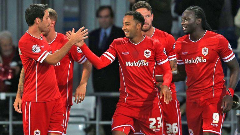 Maynard: Celebrates goal for Cardiff