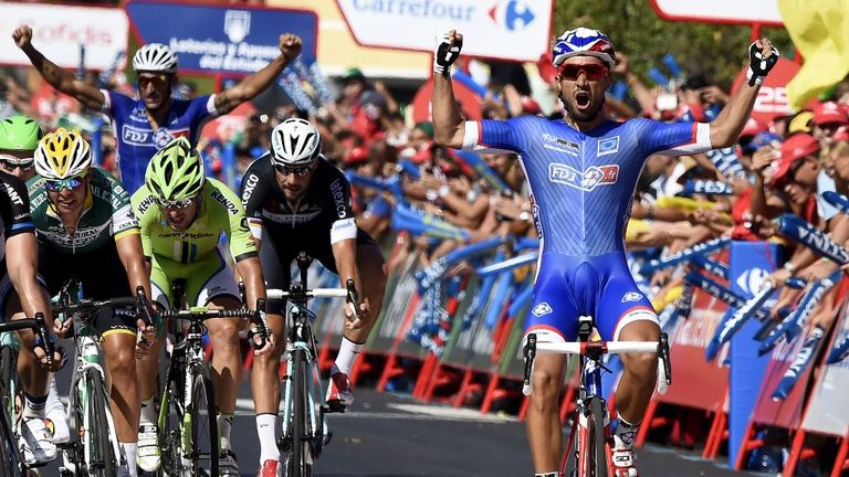 Nacer Bouhanni claimed the first Vuelta stage win of his career